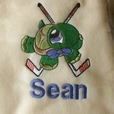 Personalized Embroidery Baby Fleece Blanket With A Turtle And Hockey Sticks
