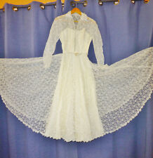 Vtg 1950s 50s Ivory Sheer Floral Lace Princess Wedding Bridal Formal Gown Dress