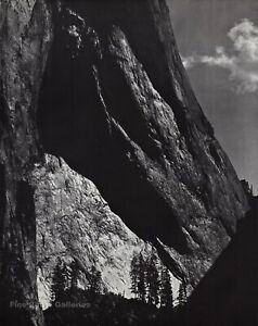 1950s Vintage ANSEL ADAMS Yosemite Valley Rock Cliffs Landscape Photo Art 12X16