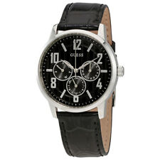 Guess Black Dial Mens Multifunction Leather Watch W0604G1