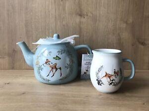 Disney Bambi Ceramic Teapot & Milk Jug Gift FREE UK P&P
