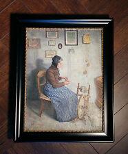 Originale antico Pittura di genere: Donna am Spinnrad in camera. firmato (H).