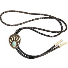Cowboy Western Signed Jg German Silver Vintage Turquoise Bolo Tie Bear Claw