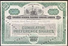 CANADIAN GENERAL ELECTRIC COMPANY, LIMITED Stock 1924. Edison - General Electric