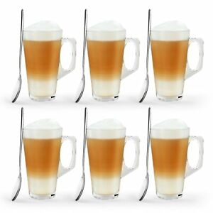 6 X Latte Coffee Glasses Cappuccino Lattes Tea Glass Cups Hot Drink Mugs