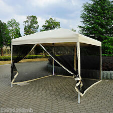 Outsunny 10'x 10' Pop Up Party Tent Gazebo Wedding Canopy w/ Mosquito Screen Tan