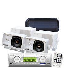 "4X50 Watt New Marine Indash AM/FM MP3 WB Radio 4 3.5"" Box Speakers /Splash Cover"