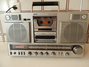 Vintage Boombox AKAI AJ-490FS Stereo 4 Band Radio Casette Recorder made in Japan