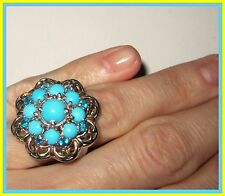 Sleeping Beauty Turquoise /Neon Apatite Ring 14K YG/ Paltinum/S Silver 925 sz 6