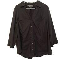 lane bryant Black Shirt Womens Button Front Blouse Top 3/4 Sleeve size 26