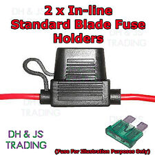 2x Standard Blade Fuse Holder Splash Proof 30A 12 AWG Cable In Line Car Auto