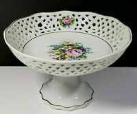 Vintage Reticulated Compote Floral Hand Painted Candy Nut Bowl