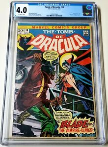 Tomb of Dracula #10 CGC 4.0 OW 1st Appearance Blade MCU Movie 1973 🔥🔥🔥