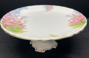 """VINTAGE ROYAL ALBERT SCARCE """"BLOSSOM TIME"""" CAKE FOOTED STAND TAZZA GD CONDITION"""