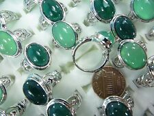 [US SELLER] 15pc wholesale ring bulk lot green agate stone costume jewelry rings