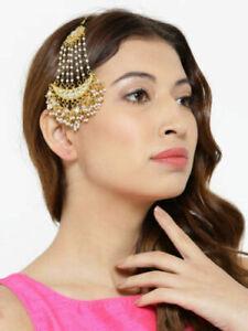 Indian kundan Hair Pasha Jhumar kundan Gold Plated Traditional Dangle Pearls US