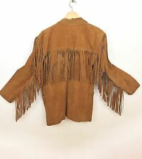 Vintage Western WINLIT 100% Leather Suede Fringe Jacket Long Line Brown Medium