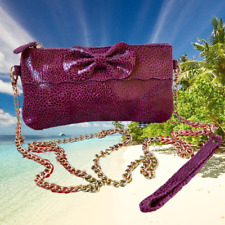 NALA RUSSO Suede Shoulder Handbag OR Wristlet Reptile Print Goldtone Chain Strap