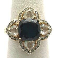 Sterling Silver Gold Tone Cushion Black Onyx - Diamond Pave Flower Cocktail Ring