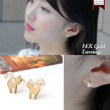 14K Solid Yellow Gold Cute Cat Stud a Pair of Earrings w/ Silicone plugs TPD