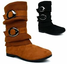 WOMENS LADIES NEW DOUBLE STRAP SIDE BUCKLE MID CALF WINTER WARM BOOT UK SIZE 3-8