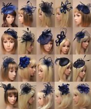 NAVY FASCINATOR WEDDING RACES ASCOT  FASHION MIDNIGHT BLUE ALICEBAND, COMB,CLIP