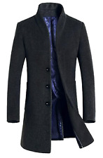 Mordenmiss Men's French Woolen Coat Business Down Jacket Trench Topcoat Large