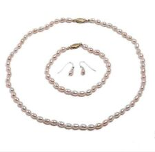Fashion 5-6mm Pink Rice-shaped Freshwater Pearl Necklace Bracelet Earrings Sets