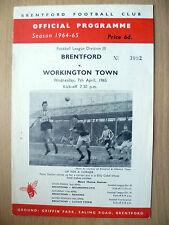 1964/65 League 3rd Division- WORKINGTON v. BRENTFORD, 7th April 1965