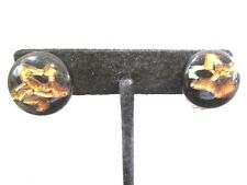 JAPAN CLIP ON BUTTON STYLE EARRINGS CERAMIC ARTSY ABSTRACT FOIL GOLD BROWN COLOR