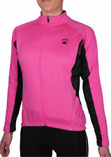 Piu Miglia Thermal Womens Cycling Jersey Pink Full Zip Long Sleeve Cycle Top M L