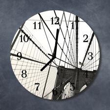 Glass Wall Clock Kitchen Clocks 30 cm round silent Brooklyn Bridge Grey