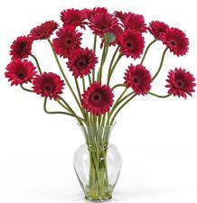Nearly Natural 1086-RD Gerber Daisy Liquid Illusion Silk Flower Arrangement- Red