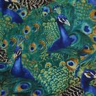 Timeless Treasures Animals Packed Peacock Green 100% cotton Fabric by the yard
