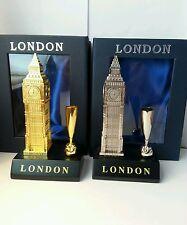 2x Big Ben Portapenne Metallico Oro E Argento Souvenir Di Londra Confezione