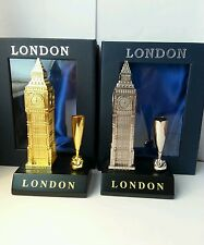 2 x Big Ben Pen holder Metalic Gold & Silver London Souvenir Gift Pack UK Seller