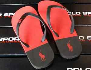 POLO RALPH LAUREN PONY SANDAL FLIP FLOPS SHOES~ Black Red~Mens 11~NWT Women 13