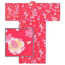"Japanese 57""L Kimono Yukata Sakura Cherry Blossom Cottom Pink/ MADE IN JAPAN"