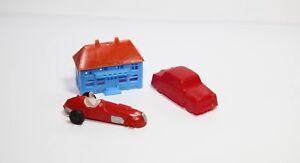 1950s H.W.M. Racing Car Marx Toys Made in Hong Kong & Austin Cambridge & House