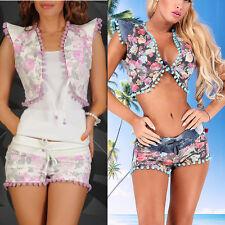 Damen Jeans 2-Teiler Hotpants Top Bolero Outfit Anzug Hose 34 - 40 #861-862