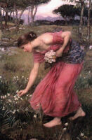 Art Oil painting Waterhouse Nice young girl picking flowers in spring landscape