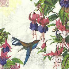 4 Paper Table Napkins Vintage Fuschia Script Humming Bird Decopatch Decoupage