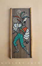 MID CENTURY MODERN PEBBLE HANGING WALL ART! Vtg Gravel 50's Mosaic Textile 60's