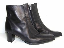 GEOX 38/8 B BLACK LEATHER ZIPPER ANKLE BOOTS $220 EXC!