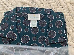 BILL BLASS Men's Pajamas 2 pc. vintage L green print cotton