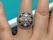 Sterling Silver Onyx, White Topaz, & Affinity Diamond Art Deco Style Round Ring
