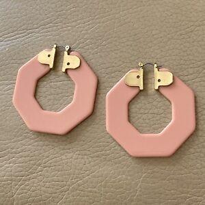 1980s Hoop Earrings Huge Stud Salmon Pink Drop Vintage Jewellery Lever Back Old