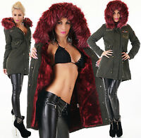 Sexy Femmes Long Manteau Parka Fourrure Rouge Douillet Teddyfell Army Vert S-XL