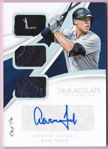 AARON JUDGE 2018 IMMACULATE TRIPLE PATCH AUTO #1/1 RELIC AUTOGRAPH ONE OF ONE