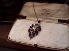 Pendant Necklace with Chain Vintage Amethyst Navette Crystal